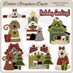 Christmas Doggies - Clip Art