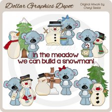 Koala Cuties - Winter Snowmen - Clip Art