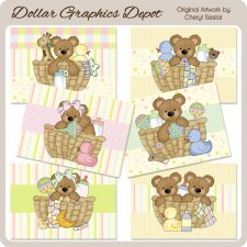 Baby Bear Baskets Cards - Printables