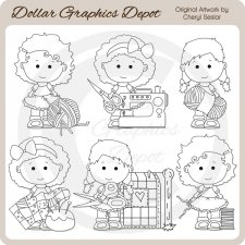 Lou Lou and Pals - Sewing - Digital Stamps