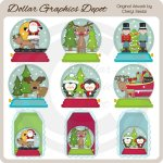 Pretty Winter Snow Globes - Clip Art