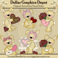 Raggedy Bunnies - Be My Valentine - Clip Art