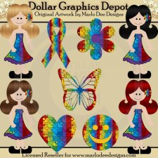 Autism Awareness Girls - Clip Art