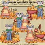 Country Mice - Fall - Clip Art