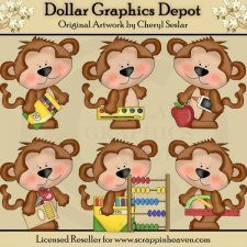 School Monkeys 1 - Clip Art