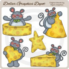 Mice and Cheese - Clip Art