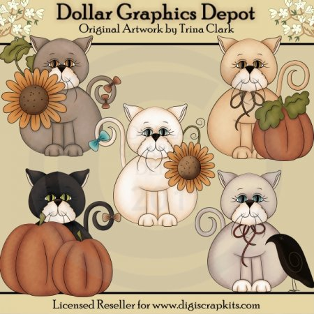 Fall Kitties - Clip Art