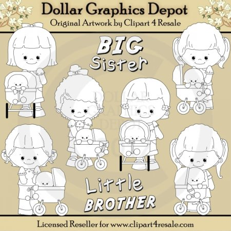 Big Sister - Little Brother - Digital Stamps - *DGD Exclusive*