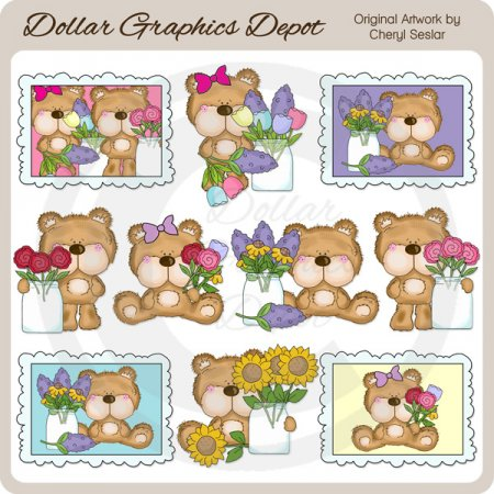Fluffington Bear - May Flowers - Clip Art
