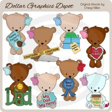Bow Bears - Father's Day - Clip Art