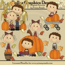 Fall Lolly and Landon - Clip Art