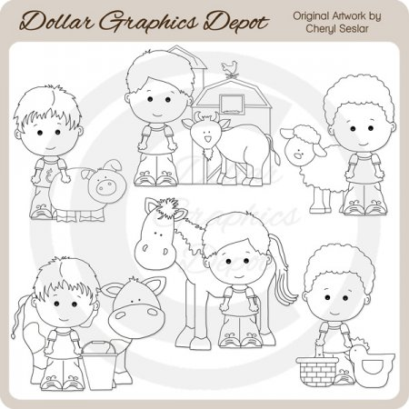 Linus and Pals - On The Farm - Digital Stamps