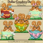 Easter Egg Bunnies 1 - Clip Art