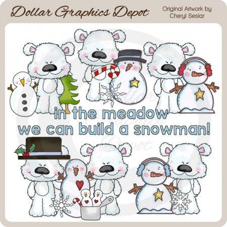 Scruffy Polar Bear - Winter Time - Clip Art