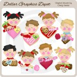 Sweet Valentine Kids - Clip Art