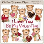 Pudgy Bear - Be Mine - Clip Art - *DGD Exclusive*