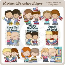 Little Folks - Fourth of July - Clip Art