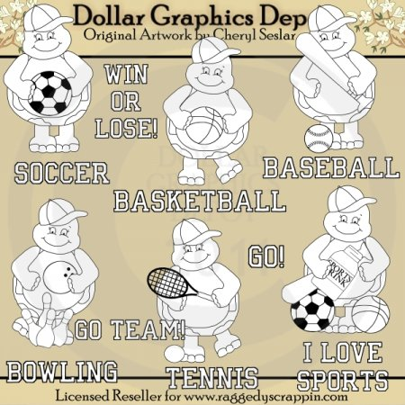 Teddy Turtle Loves Sports - Digital Stamps - *DGD Exclusive*