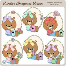 Spring Bears and Birds 1 - Clip Art - *DGD Exclusive*
