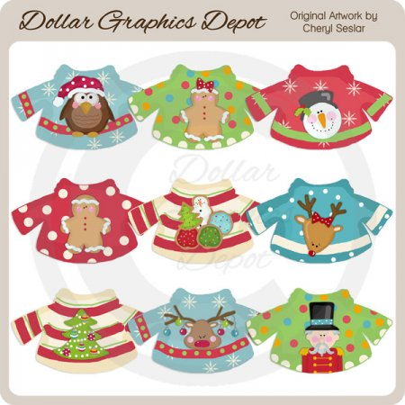 Christmas Sweaters - Clip Art