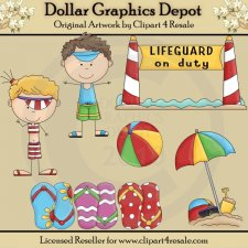 Beach Kids - Clip Art - *DCS Exclusive*