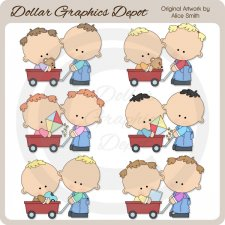 Red Wagon Kids - Clip Art
