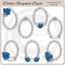 Frosted Rose Frames - Clip Art