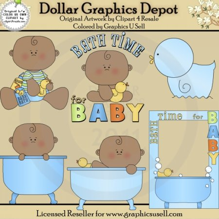 Bath Time for Baby Boy 2 - Clip Art