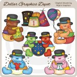 Baby New Year Bears - Clip Art