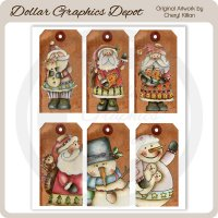 Hand Painted Winter Hodgepodge Sheet Tags
