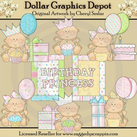 Birthday Princess Babies - Clip Art