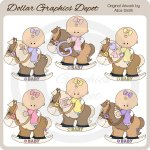 Rocking Horse Baby Girls - Clip Art - *DGD Exclusive*