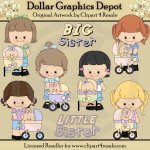Big Sister - Little Sister - Clip Art - *DGD Exclusive*