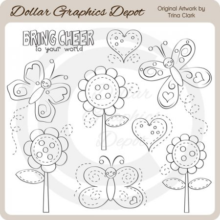 Bouncy Butterflies - Digital Stamps