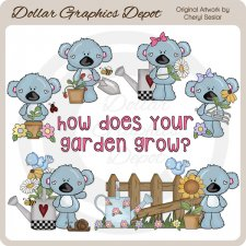 Koala Cuties - Flower Garden - Clip Art