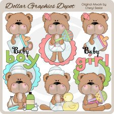 BoBo and Babs Baby Bears - Clip Art