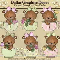 Bailey Bear Teacups - Clip Art
