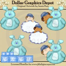 Roly Poly Bunny - Baby Boy - Clip Art