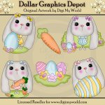 Long Eared Bunnies - Clip Art