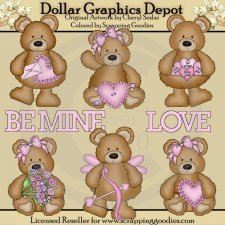 Chubby Bears In Love - Clip Art