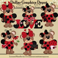 Lovely Ladybug Bears - Clip Art - *DGD Exclusive*