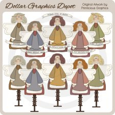 Spindle Angels - Clip Art