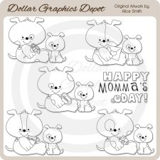 Momma's Day Pups - Digital Stamps - *DGD Exclusive""
