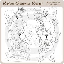 Birthday Squirrels - Digital Stamps