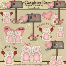 Little Valentine Bunnies - Clip Art