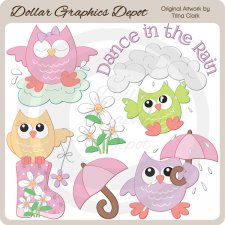 Rainy Day Owls - Clip Art