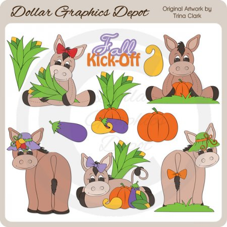 Fall Donkeys - Clip Art