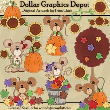 Autumn Mice 1 - Clip Art