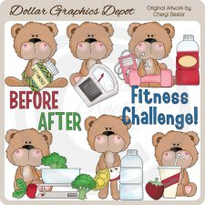 BoBo and Babs Bears Fitness Challenge - Clip Art