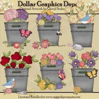 Blooming Buckets - Clip Art